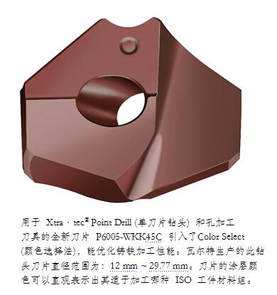 瓦尔特全新颜色的 Xtra•tec® Point Drill (单刀片钻头) 刀片,优化了 ISO K 铸铁材料加工性能