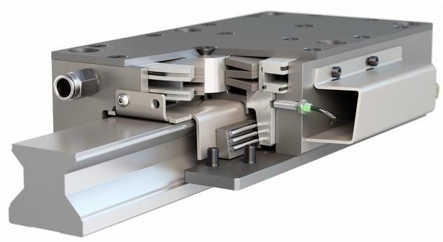 和液压系统同样强力的气动安全制动器 - 高性能高刚性ROBA®-guidestop成型导轨制动器