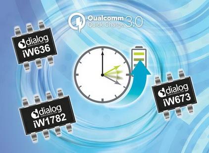Dialog的Qualcomm® Quick Charge™ 3.0芯片组扩大其在移动设备适配器快速充电市场上的领先地位