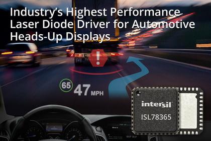 Intersil推出用于汽车平视显示器(HUD)的业内最高性能激光二极管驱动器