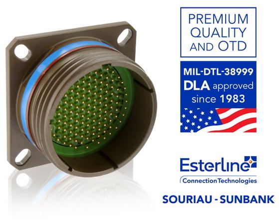 Esterline Connection Technologies – Souriau USA的MIL-DTL-38999连接器获得QPL资格已超过30年