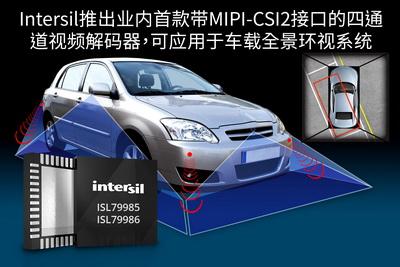 Intersil推出业内首款带MIPI-CSI2接口的四通道视频解码器,可应用于车载全景环视系统