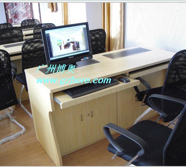 显示器升降培训桌 双位自动升降电脑桌