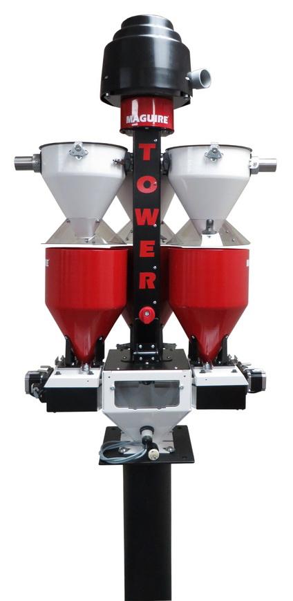 """美锴小巧的一体化""""微型塔式机""""用于在塑料加工中小产量三种物料的上料、计量、混合和控制"""