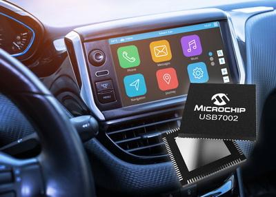 Microchip推出业界首款支持Type-C™的车载USB 3.1 SmartHub,可将信息娱乐系统数据传输速率提升10倍